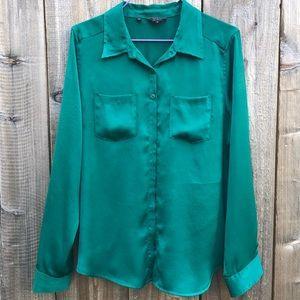 GUESS Women's Satin Shirt Blouse Button Down.